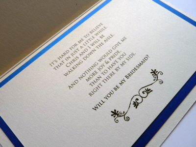 Royal blue and ivory triple mounted bridal party thank you card with flat ribbon insert