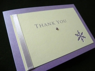 Lilac snowflake themed thank you card