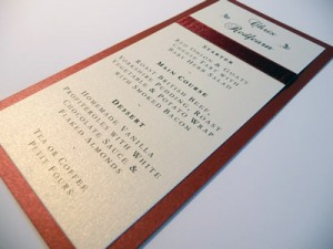 Red and Ivory Double mounted individual placecard with menu options
