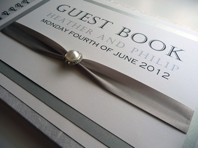 Luxury Silver Wedding Guest Book with fancy pearl buckle