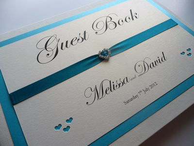 Teal and ivory butterfly themed Wedding Guest Book