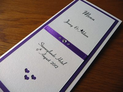 Ivory and purple triple mounted folded menu card with a heart theme