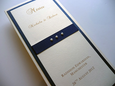 Ivory and navy triple mounted folded menu card with pearls