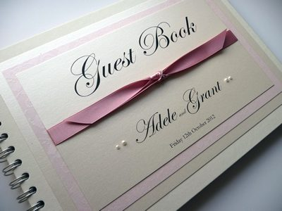 Dusky pink and ivory wedding Guest Book