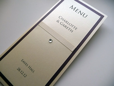 Purple and ivory triple mounted folded menu card
