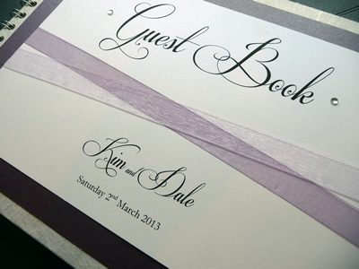 Plum and Ivory Wedding Guest Book with criss-cross organza ribbon