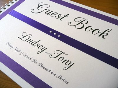 Purple and Ivory Wedding Guest Book with flat ribbon and 3 pearls