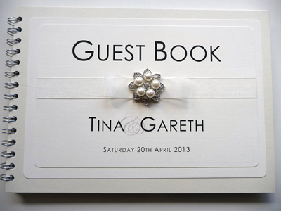 Luxury Bespoke Wedding Guest Book with a fancy pearl embellishment