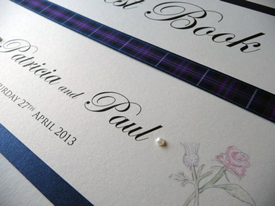 Navy and Tartan Theme Wedding Guest Book with a Rose & Thistle theme