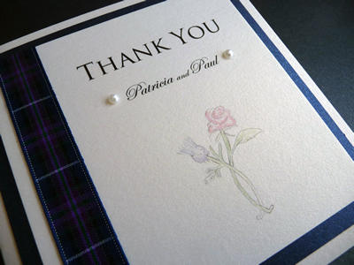 Rose and Thistle theme Thank You cards with a tartan ribbon