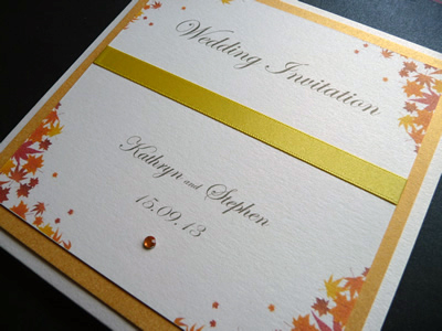 Bespoke Project Pocketfold Wedding invitation with an autumn leaf theme and ribbon