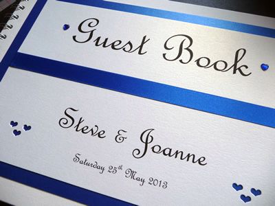Royal Blue and Ivory heart theme Wedding Guest Book
