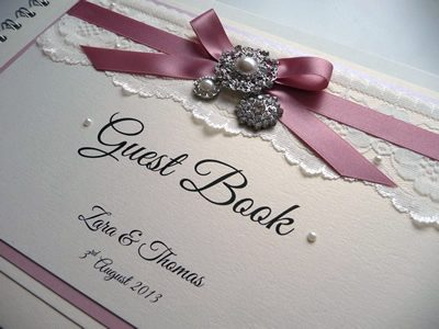Luxury Bespoke Wedding Guest Book with dusky pink ribbon and lace