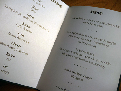 Ivory pearlised folded paper menu insert