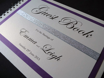 Metallic Silver and Purple themed Wedding Guest Book