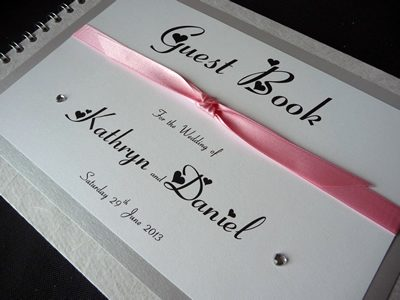 Silver and Pink heart themed wedding guest book