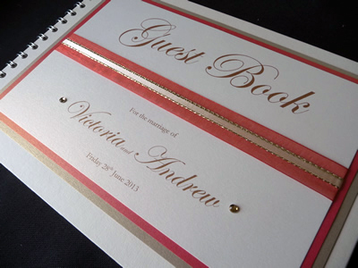 Coral and Gold Wedding Guest Book