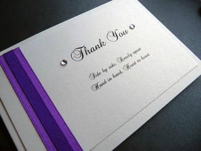 Purple and ivory thank you card