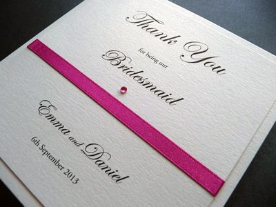 Fuchsia pink and ivory folded thank you card