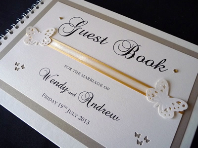 Gold and Ivory butterfly themed Wedding Guest Book