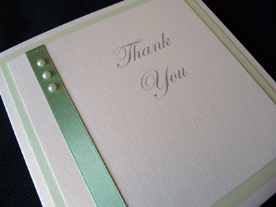 Ivory and mint green triple mounted thank you cards