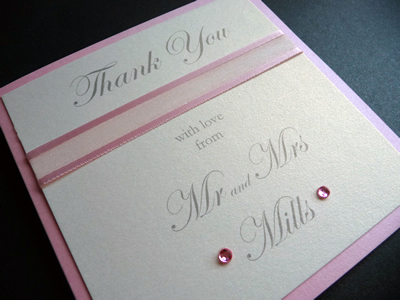 Pale pink and ivory folded thank you card