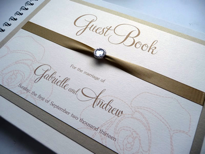 Gold and Ivory Wedding Guest Book