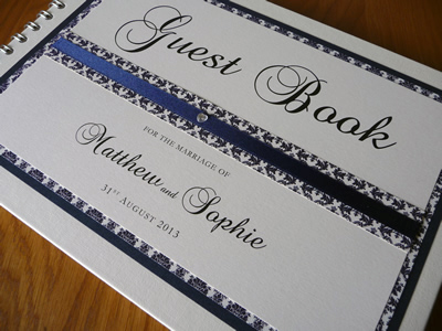 Navy and ivory Damask themed Wedding Guest book