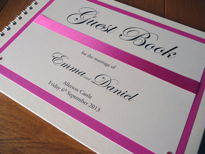 Fuchsia Pink and Ivory Wedding Guest Book with flat ribbon