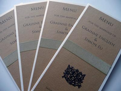 Brown kraft card folded menu card with sage green organza ribbon