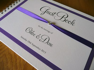 Purple and Ivory Wedding Guest Book