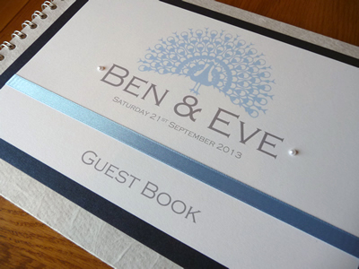 Blue Peacock themed Wedding Guest Book