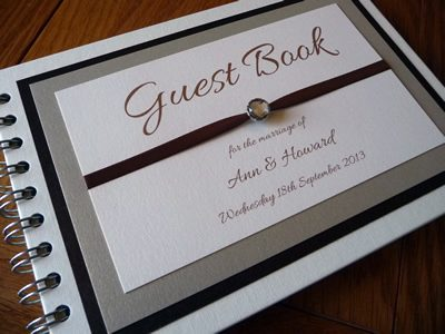 Brown and Gold themed Wedding Guest Book