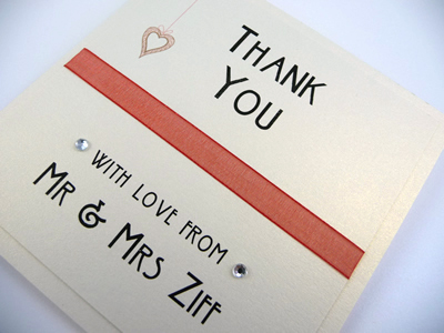 Ivory and coral folded thank you card with a heart theme