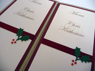 Gold and Red triple mounted holly themed folded menu cards