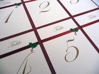 Holly theme A6 Table Numers