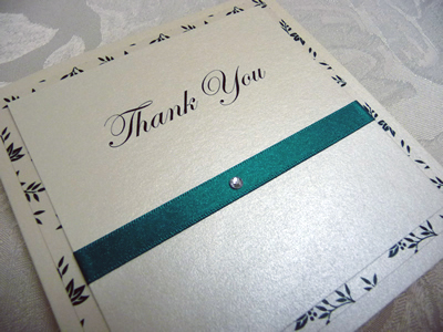 Jade and Ivory triple mounted thank you cards with a flourish pattern paper