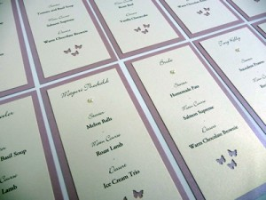 Dusky Pink and Ivory Double mounted individual placecard with menu options
