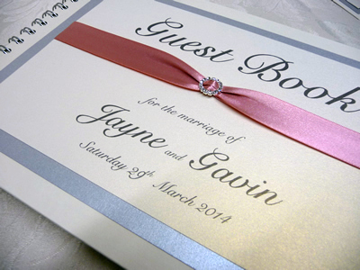 Silver and Dusky Pink Guest book with a round diamante buckle