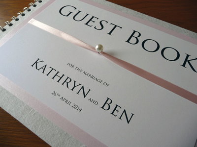 Pink and White Wedding Guest Book with pearl detail