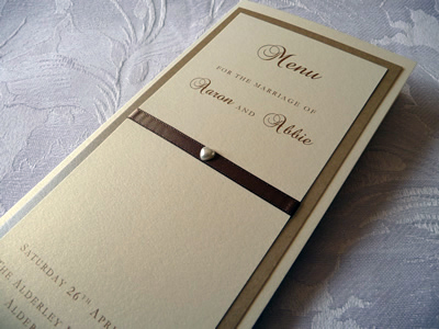 Gold and Ivory triple mounted folded menu cards