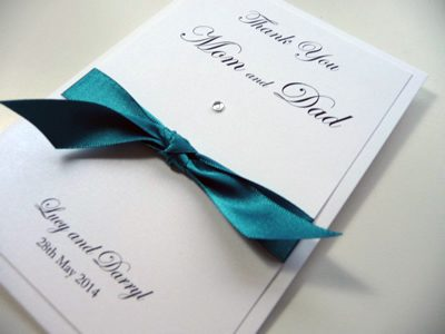 Jade and ivory double mounted thank you card with a knotted ribbon
