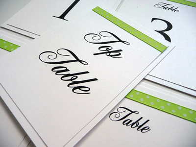 Lime green theme A6 table numbers