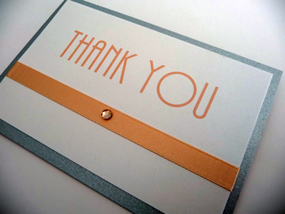 Silver and peach themed folded thank you cards