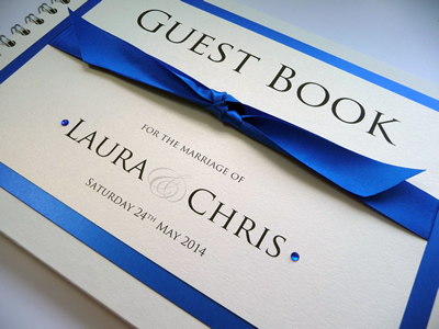 Royal Blue and Ivory Wedding Guest Book with knotted ribbon and diamantes