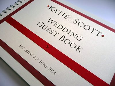 Red and Ivory Wedding Guest Book with flat ribbon and diamantes