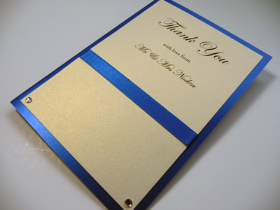 Royal blue and ivory folded thank you cards