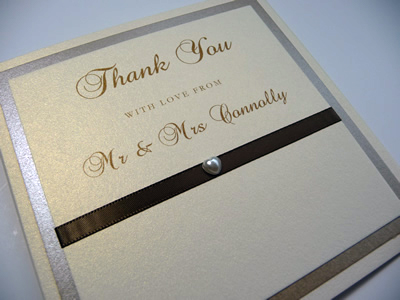 Ivory and Gold triple mounted thank you cards
