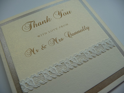 Ivory and Gold triple mounted folded thank you card with lace detail