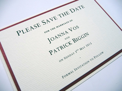 Red and Ivory triple mounted save the date without ribbon